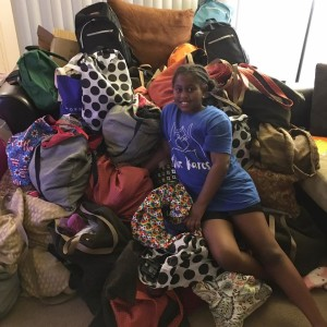 Khloe has handed out more than 200 bags (photo by Facebook)