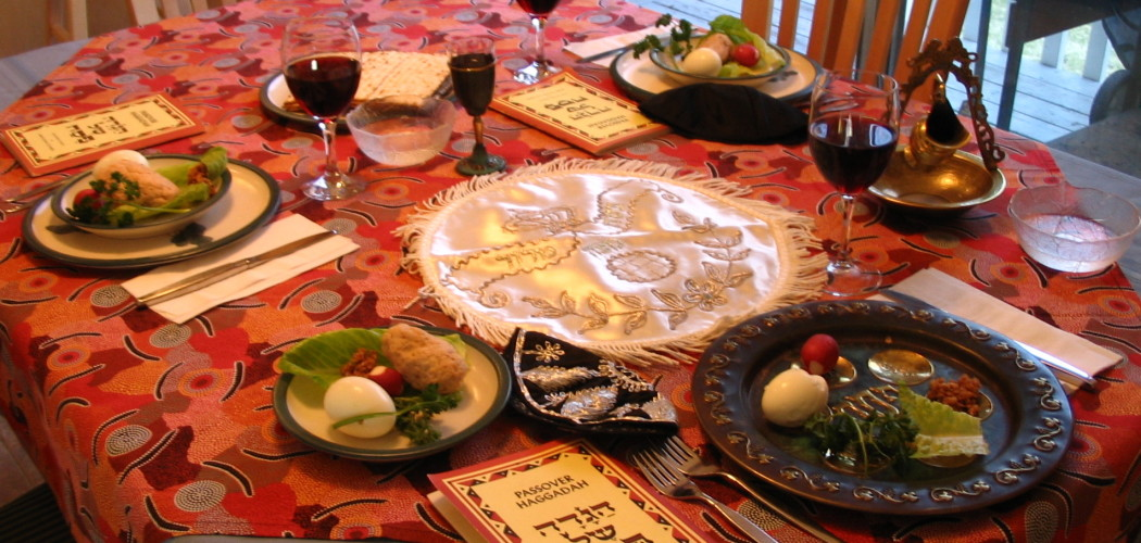A Seder table setting