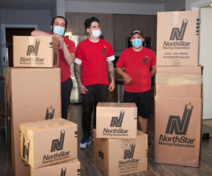 Movers wearing face masks