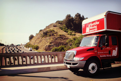 NorthStar Moving Truck on a bridge on the 101