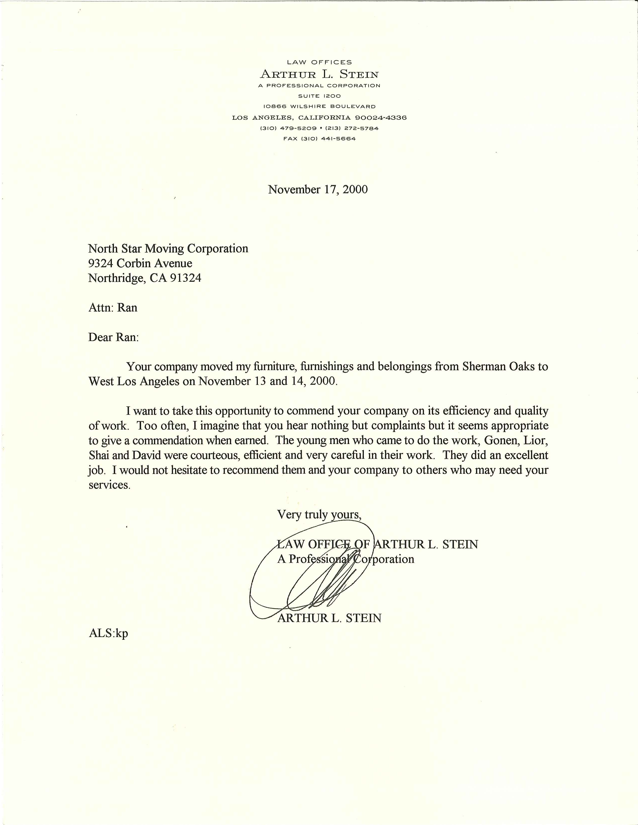 Recommendation Letter from Law Office of Arthur L. Stein