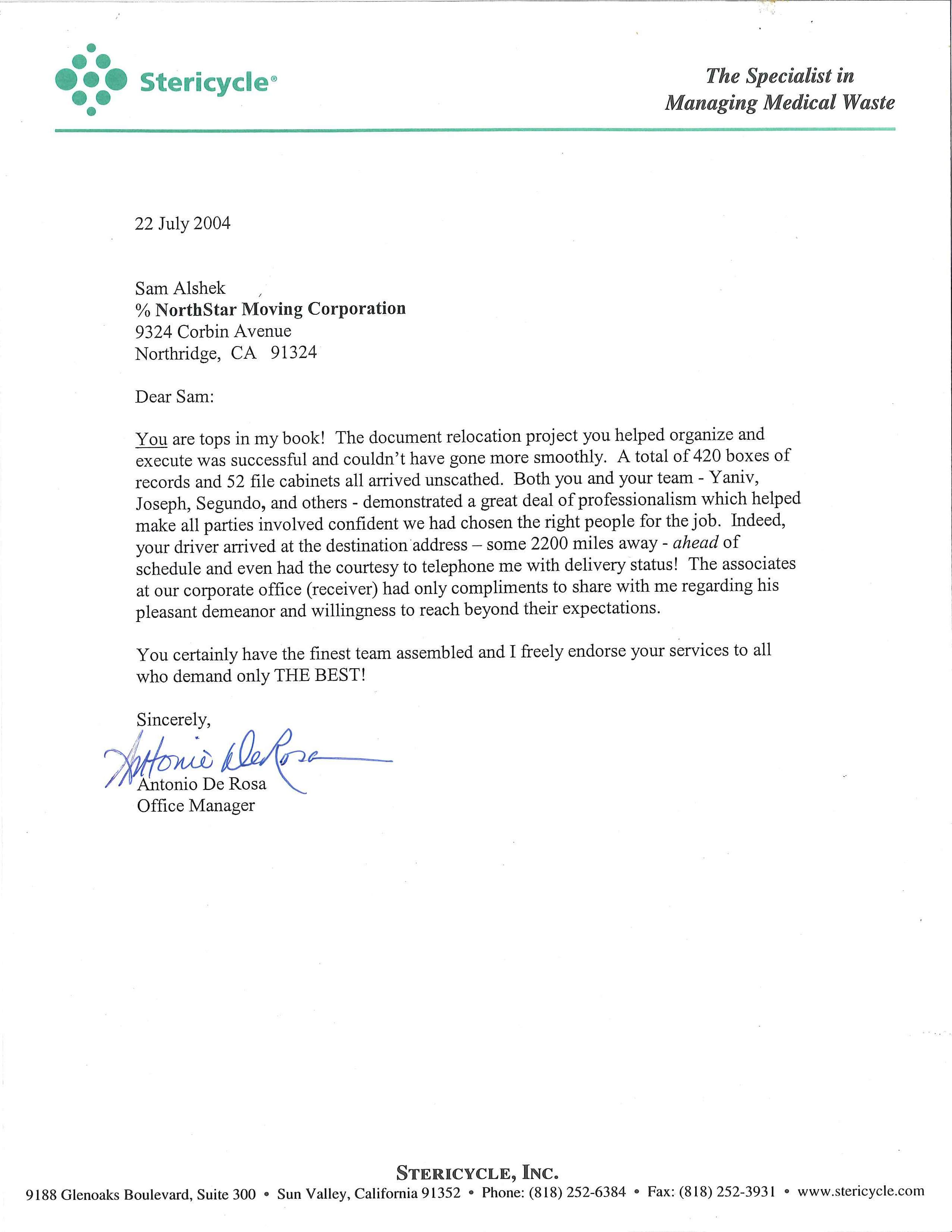 Recommendation Letter From Stericycle
