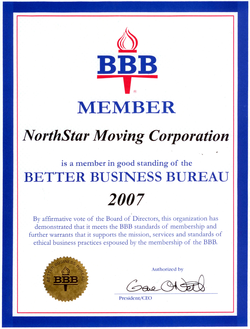 Since 2000 northstar moving company has held the highest possible rating from the bbb