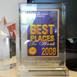 The 2008 Best Places to Work award in our office!