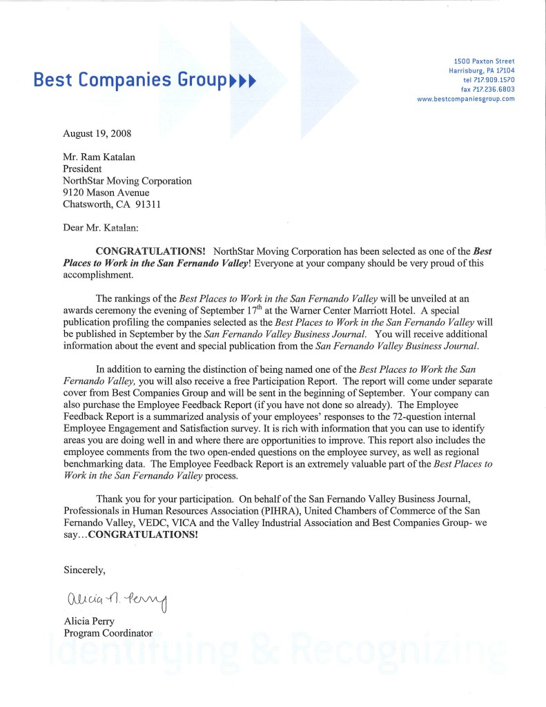 2008 Best Places To Work Letter From Best Companies Group