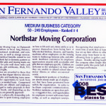 News Article from the San Fernando Valley Business Journal about NorthStar Moving Company winning the award.