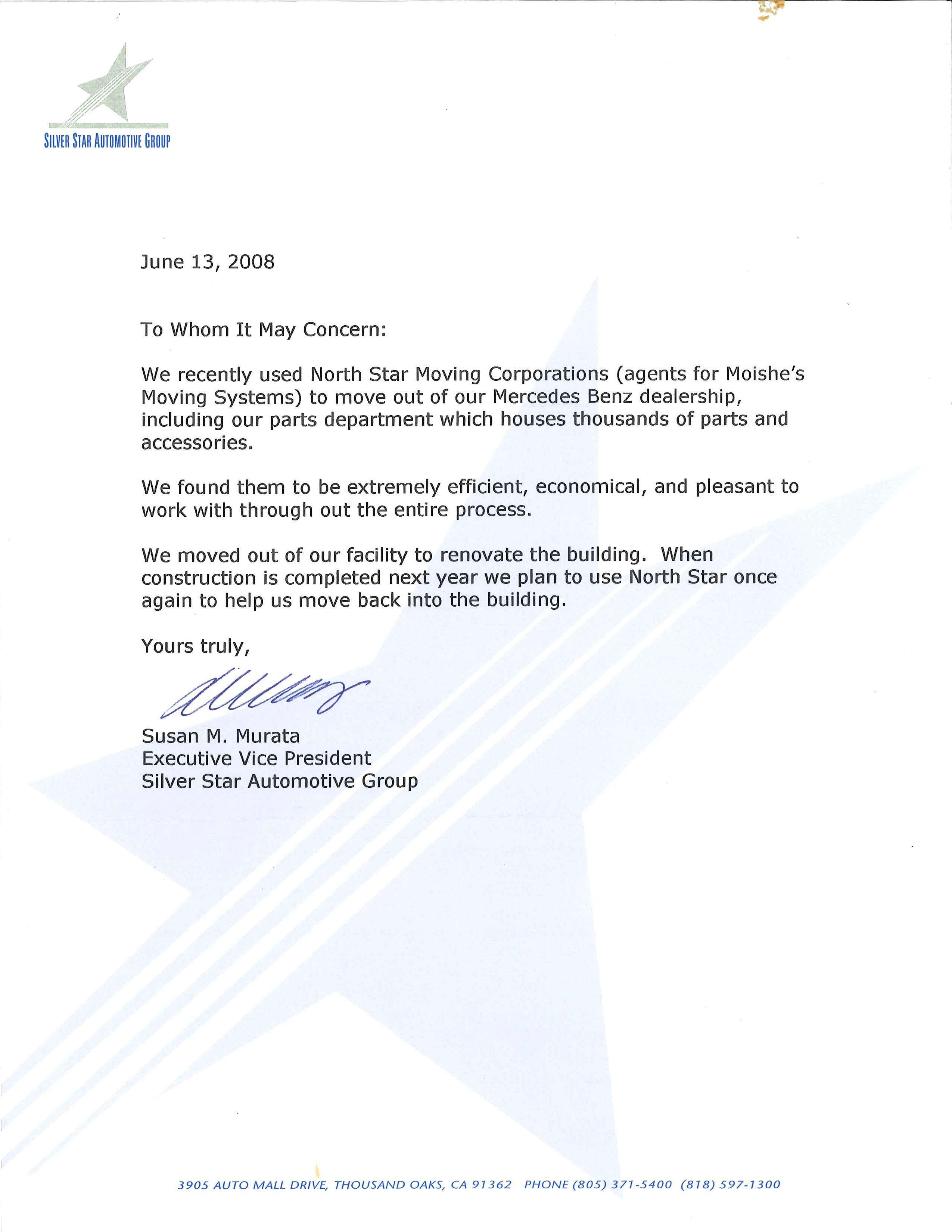 Recommendation Letter from Silver Star Automotive Group