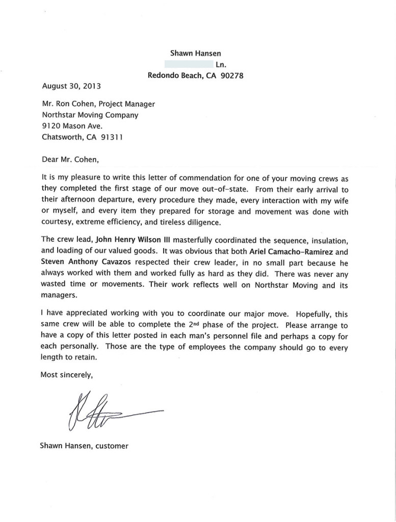 Recommendation letter to NorthStar Moving