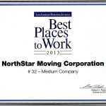 The Best Places To Work Award for 2013. NorthStar Moving Company ranked 32