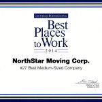 The Best Places To Work Award for 2014. NorthStar Moving Company ranked 27