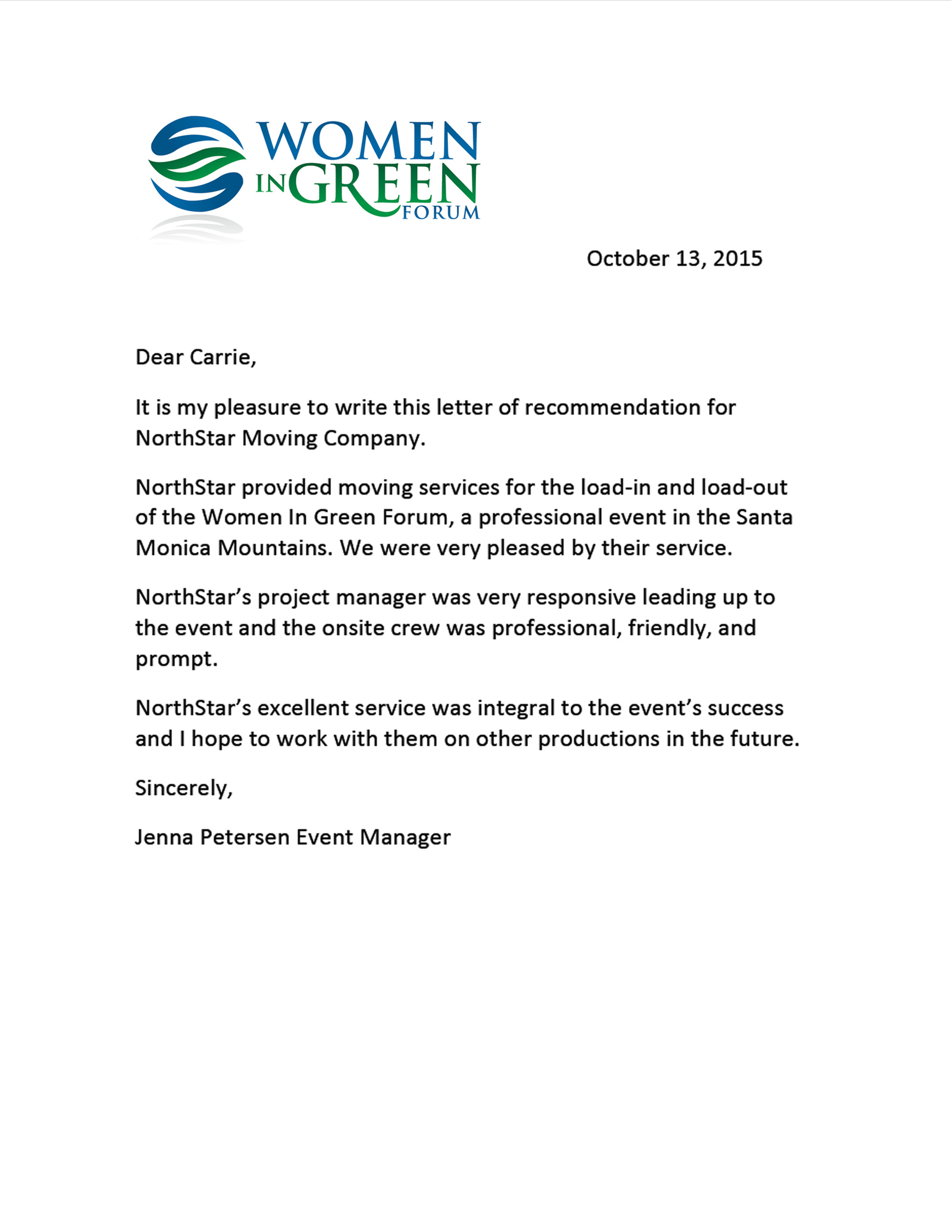 Women in Green Forum Recommendation Letter to NorthStar Moving