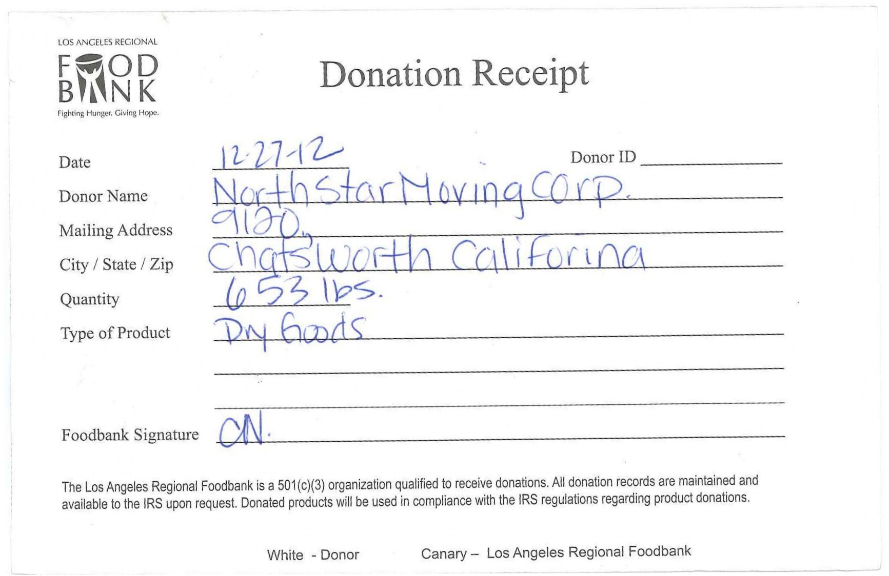 Weight Receipt From The La Regional Food Bank