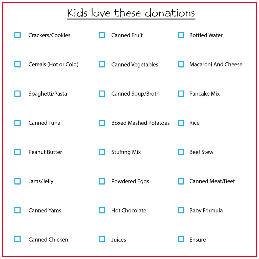 Food Drive Donation Checklist