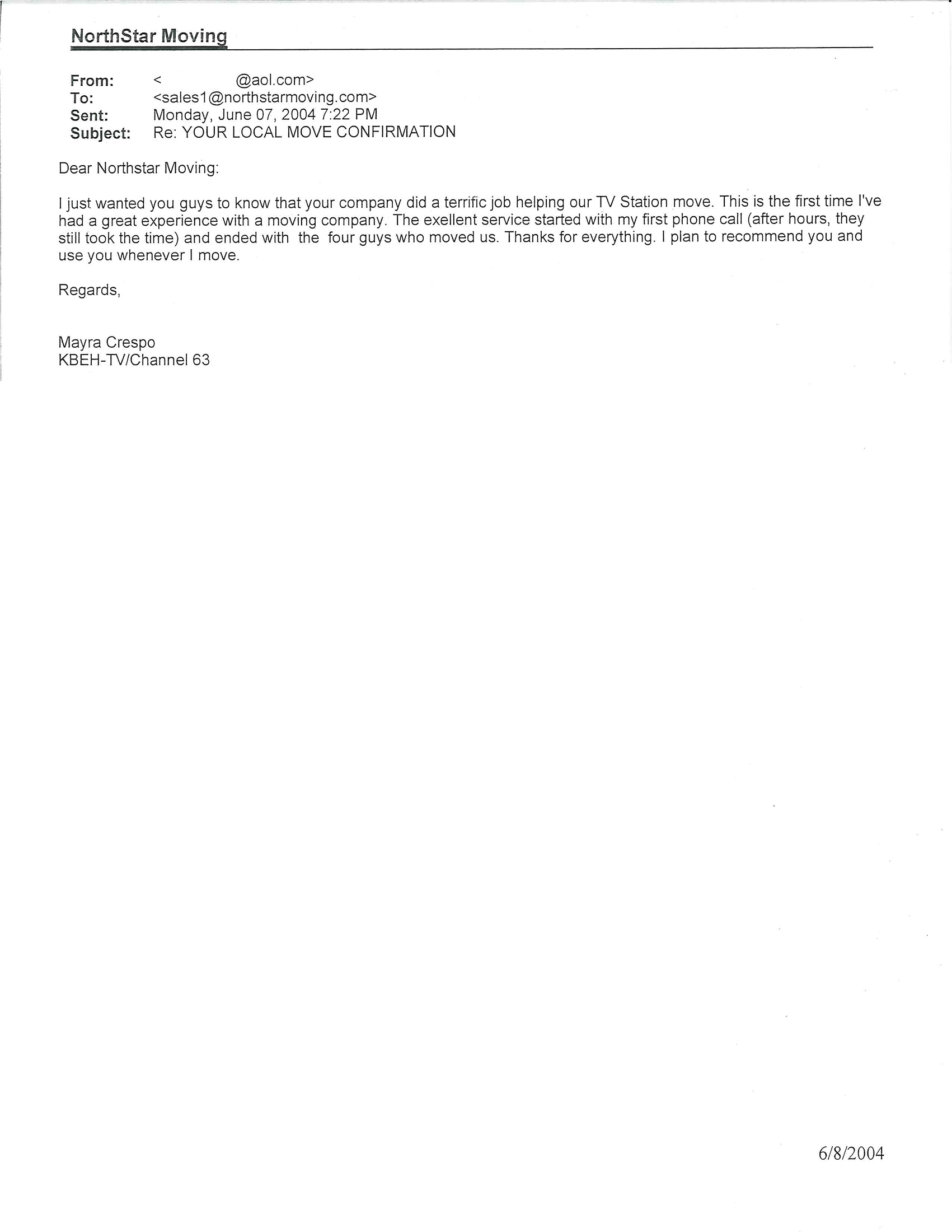NorthStar Moving Recommendation Letter