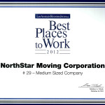 The Best Places To Work Award for 2012.  NorthStar Moving Company ranked #29