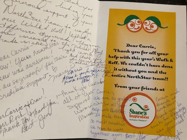 A thank you card from Shane's Inspiration to NorthStar Moving