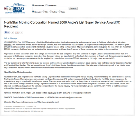 NorthStar Moving Corporation Named 2006 Angie's List Super Service Award® Recipient