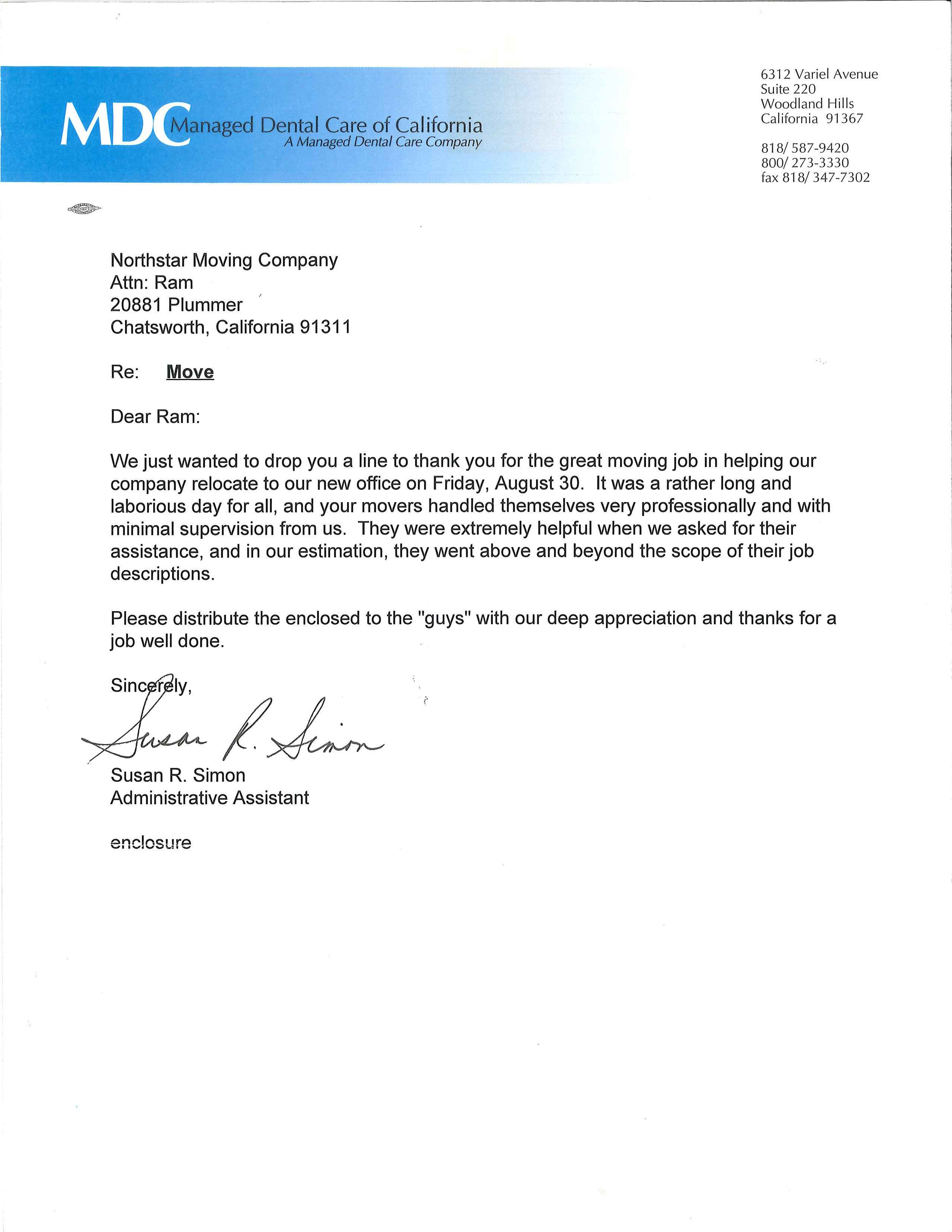 Recommendation Letter from Managed Dental Care