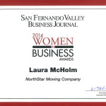 Certificate of Laura McHolm's nomination for the San Fernando Valley Business Journal's 2014 Women in Business Awards