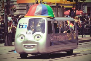 BART in San Francisco Parade: Photo by Flickr user-  InSapphoWeTrust