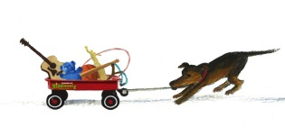 Dog with a red wagon