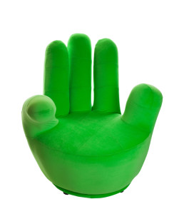 green hand chair