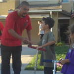 NorthStar Moving mover greets kids