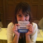 Claire Wineland of Claire's Place Foundation holding up her nominee badge at the event!